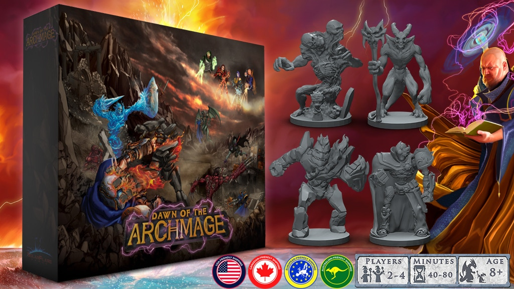 Dawn of the Archmage, funding on Kickstarter now! This great miniatures, tile laying game is only $70! Pledge today!